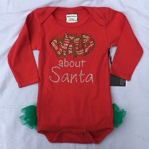 "Other - Infant Ruffle Onesie: ""Wild about santa"""